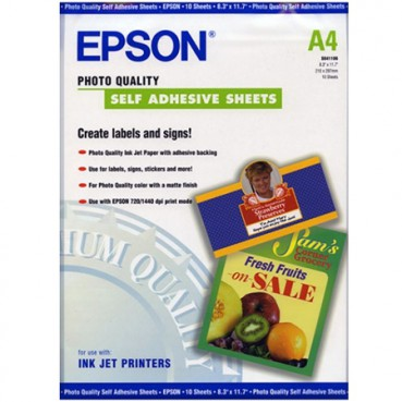 Бумага Epson A4 Photo Quality Self Adhesive Sheet, 10л. (C13S041106)